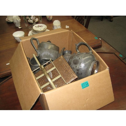 138 - Box lot of various Pewter Tea Pots, etc...