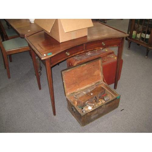 139 - Edwardian Mahogany 2 Drawer Side Table with...