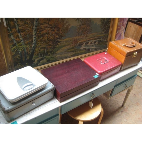 15 - Cutlery Box, 2 Cash Boxes, Vanity Case & a Scales...
