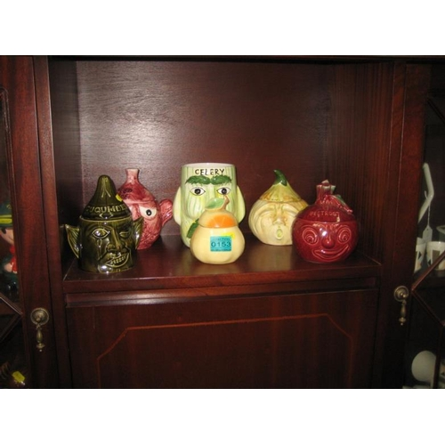 153 - Six Pottery Kitchen Storage Jars including Sylvac...