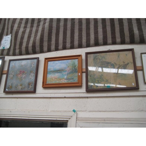 175 - 3 Framed Pictures including a Woolwork...