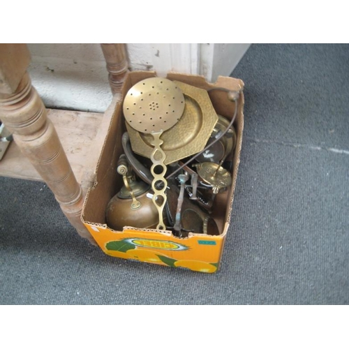 177 - Box lot of Brass and Copper Metalware...