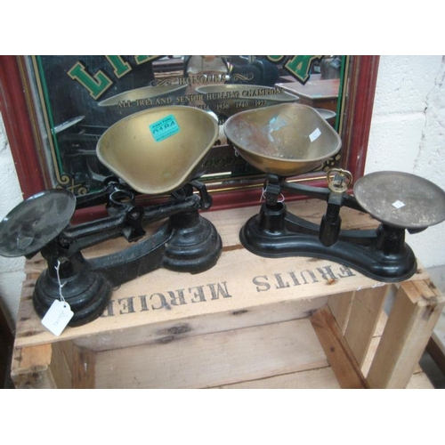 184 - Pair of old Iron and Brass Scales...