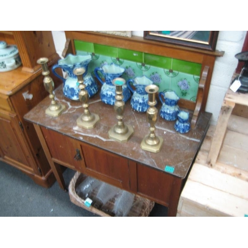 195 - Edwardian Marble Top Washstand with a Green Tile...