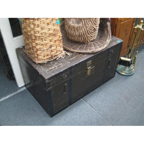 212 - Large Old Iron Bound Timber Trunk...