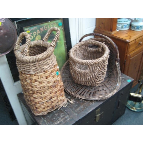 213 - 3 old Wicker Baskets and a Vegetable Tray...
