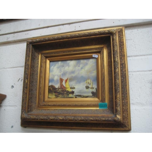 224 - Picture of a Harbour Scene in a heavy Carved Frame...