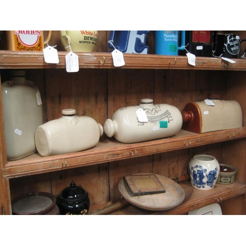 237 - Four Ceramic Foot Warmers and a Shelf of Curios...