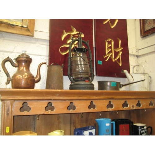 239 - 2 Copper Pots, Tilly Lamp, Milk Can and a Watering...