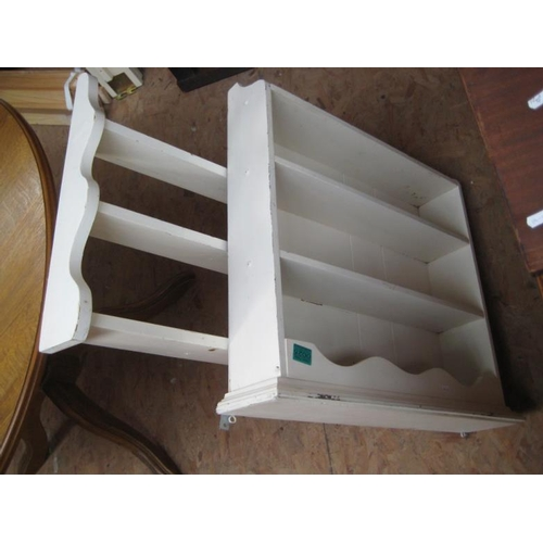 25 - Two White Painted Hanging Wall Shelves...