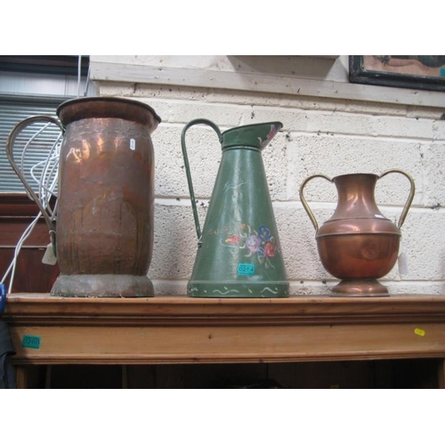 254 - Copper Plaque, Green Painted Jug and 2 Copper...