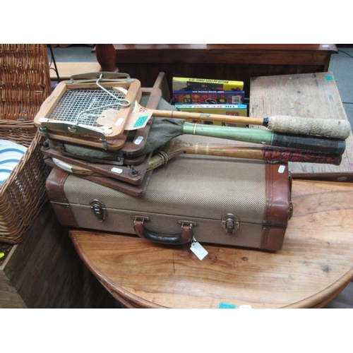 268 - Leather Bound Travel Case and 3 old Raquets...
