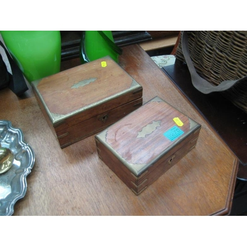 278 - Two Brass Inlaid Hardwood Trinket Boxes...