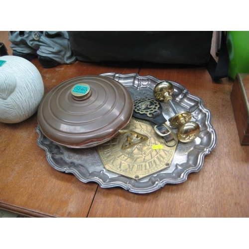 280 - Copper Bed Warmer, Brass Door Handle, Sun Dial,...