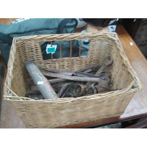 293 - Wicker Basket Containing old Iron Farm Implements...