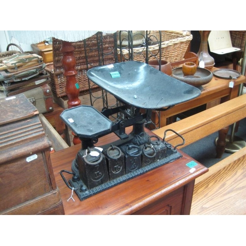 302 - Victorian Cast Iron Shop Scales with weights...