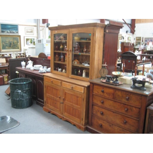 311 - Good Pine Bookcase / Dresser with 2 glazed doors...