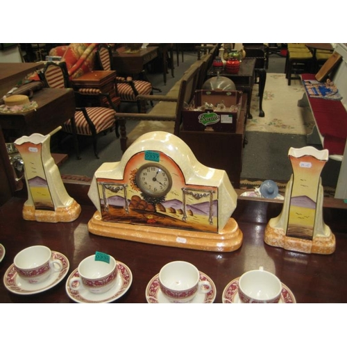 337 - French 3 piece Pottery Clock Garniture set...