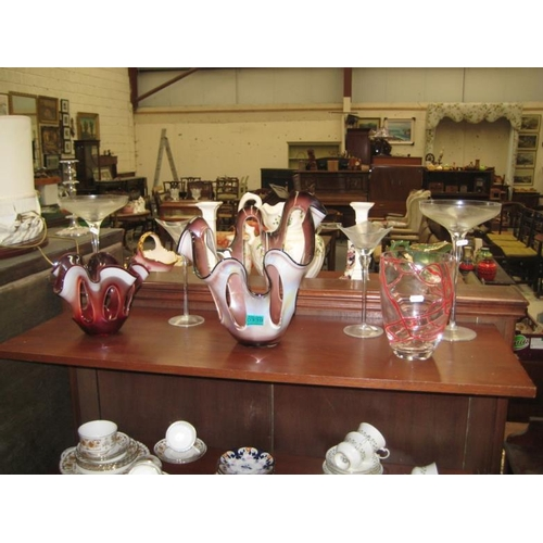 339 - Shelf of various Art Glass Vases and 2 part China...