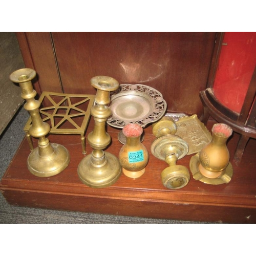341 - Pair of Brass Candlesticks, Trivet and other metal...
