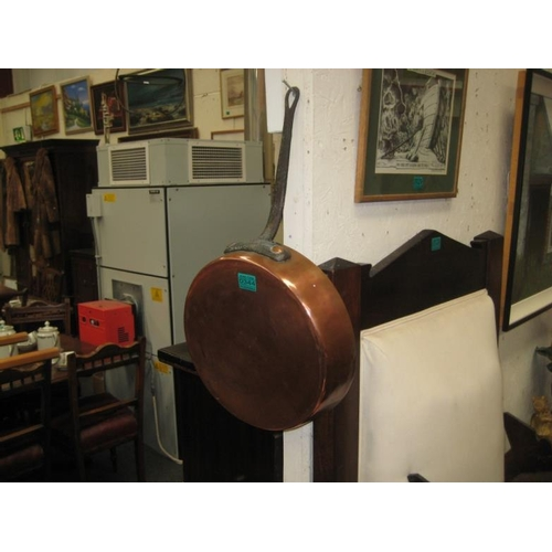 344 - Good Antique Copper Pan with Iron Handle...