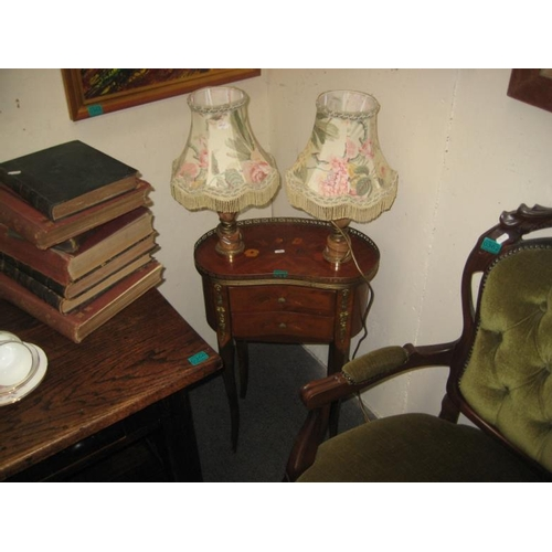 357 - 2 Drawer French Occasional Table & a pair of Lamps...