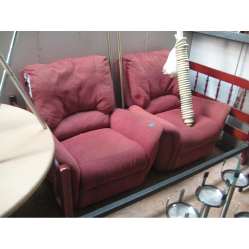 36 - Pair of Red Upholstered Armchairs...