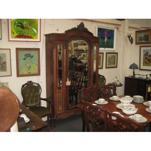 363 - 19th Century Walnut Armoire with a centre Mirror...