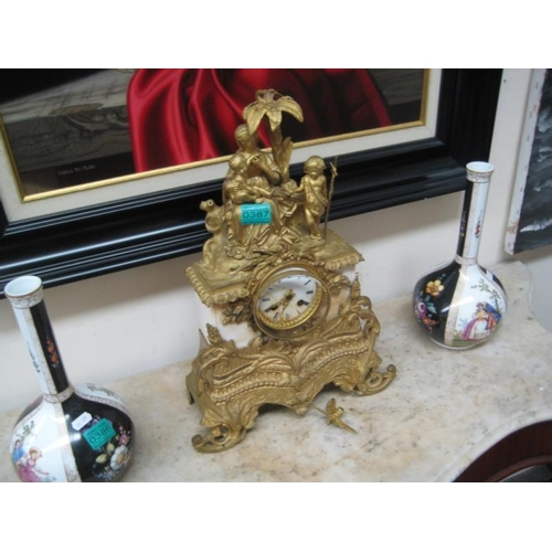 387 - 19th Century Gilt and Marble Mantle Clock...