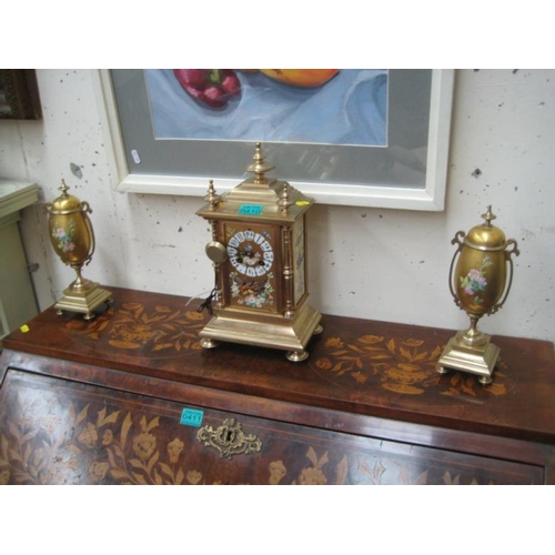 410 - Decorative 3 piece Clock Garniture Set with...