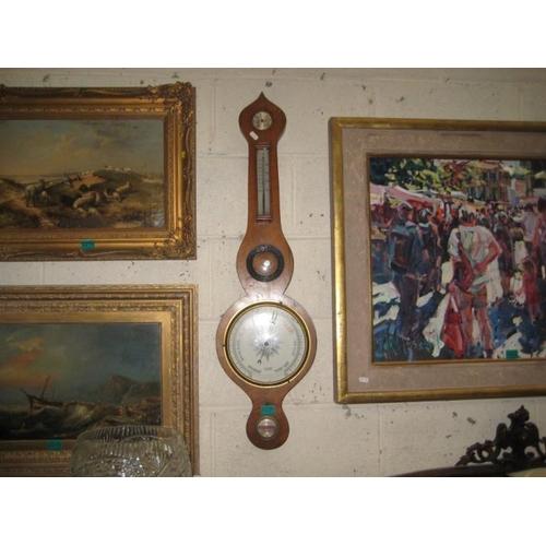 420 - Georgian Mahogany Mercury Barometer...
