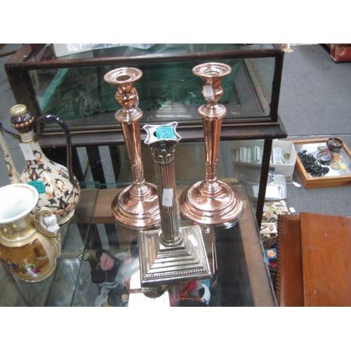 453 - Pair of Victorian Sheffield Plated Candlesticks &...