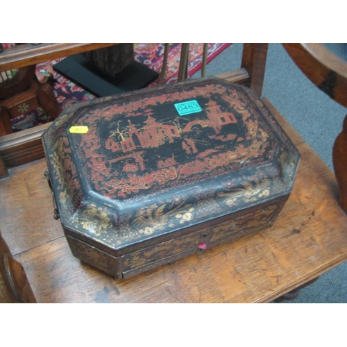 463 - 19th Century Oriental Laquerware Sewing Box...