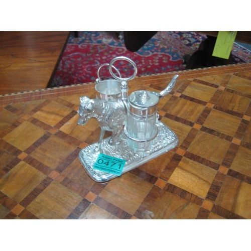 471 - White Metal Hunting Dog Cruet...