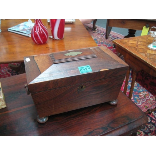 474 - Victorian Brass Inlaid Rosewood Tea Caddy...