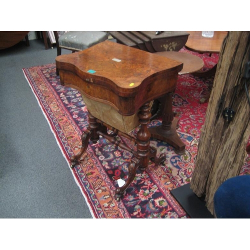 478 - Victorian Burr Walnut Games Table Sewing Box...
