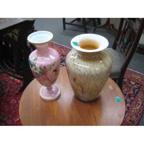 491 - Edwardian Pink Floral Vase and a Green Vase...