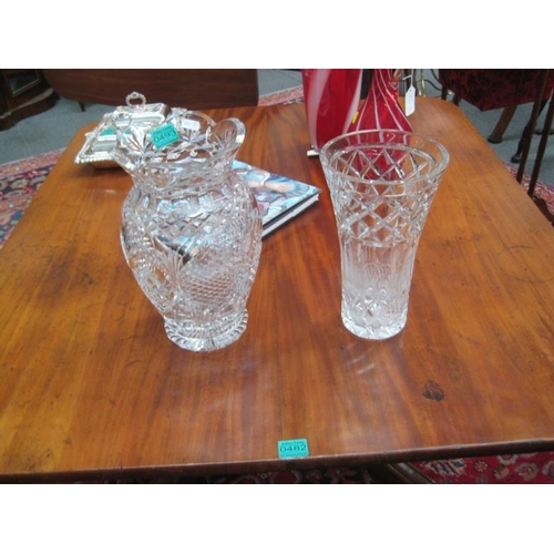 493 - Two Large Cut Glass Vases (one with chip)...