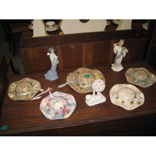 508 - 5 Porcelain Ladies Bonnetts and 2 Lladro...