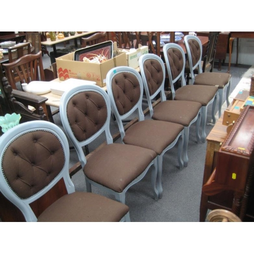 519 - Set of 6 Painted and Upholstered Dining Chairs...