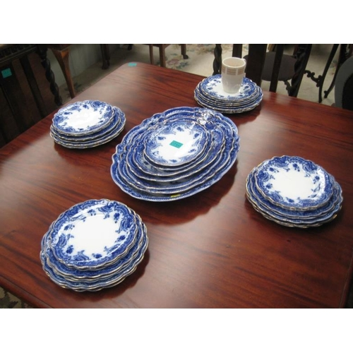 522 - Collection of Victorian Blue and White Dinnerware...