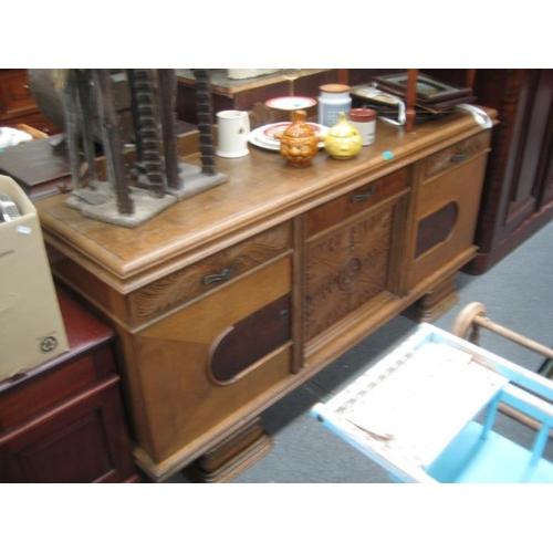 533 - Vintage Oak and Mahogany Side Board...