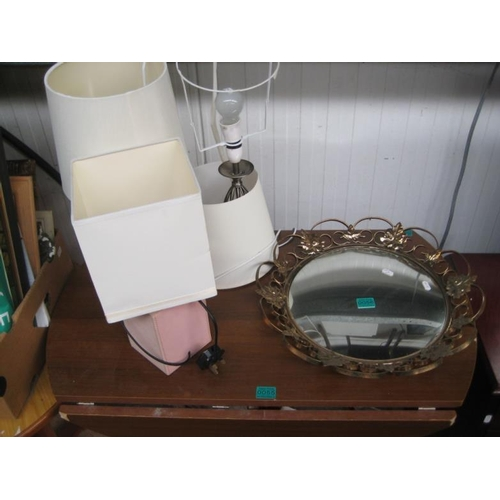 56 - Convex Mirror, 3 Lamps and a Lantern...