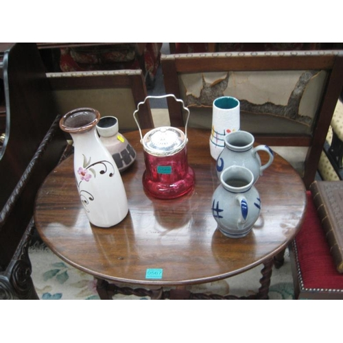 568 - Red Glass Biscuit Barrell, 2 Jugs and 3 Vases...