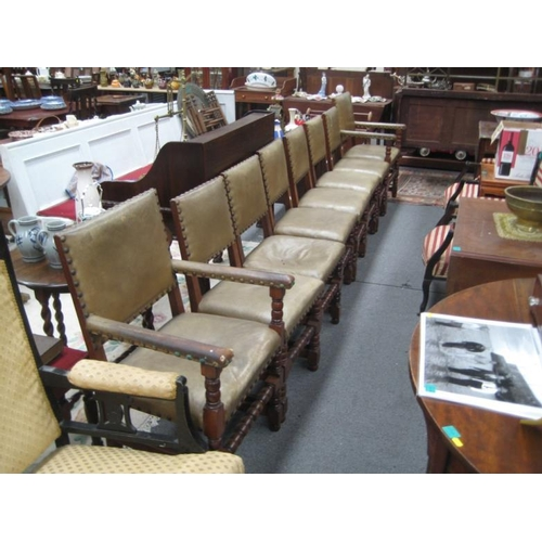 578 - Set of 8 Tudor Style Dining Chairs including...
