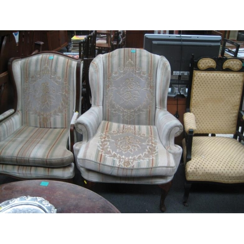 580 - Queen Anne Style Wingback Armchair...