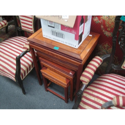 592 - Set of 4 Oriental Hardwood Occasional Table in a...