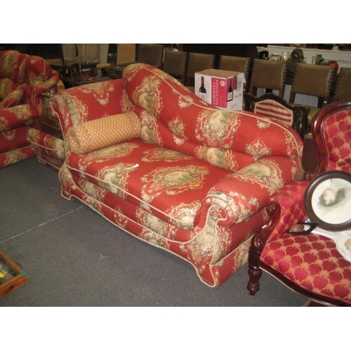 597 - Decorative Red Chaise Longue style Sofa...