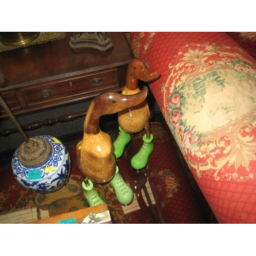 599 - Pair of Hardwood Duck Figures...