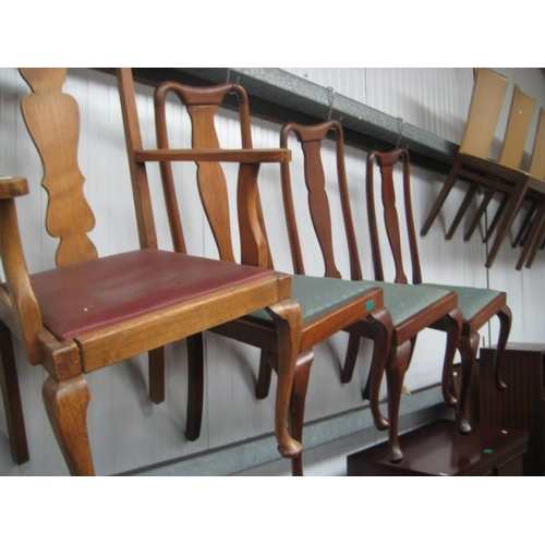 64 - Seven Queen Anne Style Mahogany Dining Chairs...